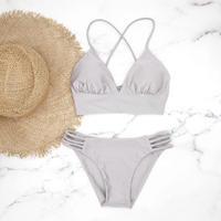即納 A-string long under solid bikini Bright glay