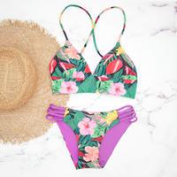 即納 A-string reversible long under bikini Purple tropical