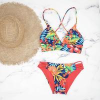 即納 A-string reversible long under bikini Red tropical
