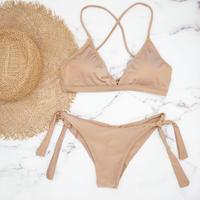 即納 Fit up desing triangle bikini Platina gold