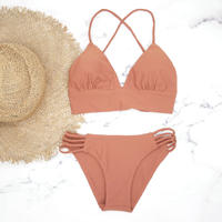即納 A-string long under solid bikini Brown orange
