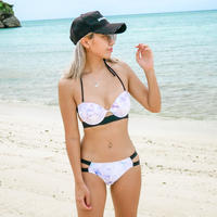 即納 Twin strap rainbow marble bikini
