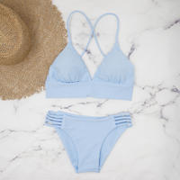 即納 A-string long under solid bikini Honor blue