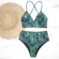 即納 A-string high waist long under bikini Green leaf