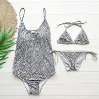即納 Pair set one piece bikini Glay leopard