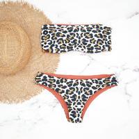 即納 Tube top reversible bandeau  bikini Leopard