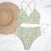 即納 A-string high waist long under bikini Mint leopard