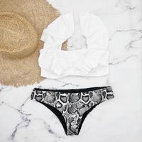即納 V-line shoulder frill desing bikini White python