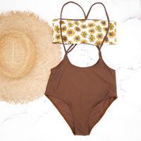 即納 Separate desing bandeau bikini Brown sunflower