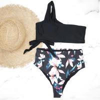 即納 One shoulder high waist bikini Black botanical