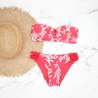 即納 Crochet desing bandeau bikini Red coral