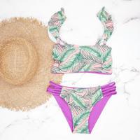 即納 Jointed frill reversible bandeau bikini  Pinky leaf