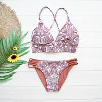 即納 A-string reversible long under bikini Brown paisley