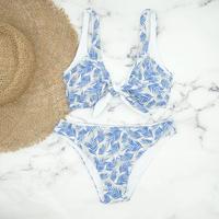 即納 Front ribboned reversible triangle bikini  Blue leaf