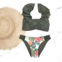 即納 V-line shoulder frill desing bikini Tropical