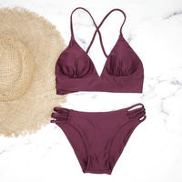 即納 A-string long under solid bikini Wine red