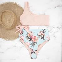 即納 One shoulder high waist bikini Pinky Floral