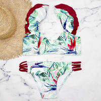 即納 Shoulder frill desing bikini Red leaf