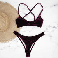 即納 Velour fabric brazilian bikini Wine red