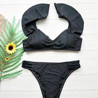 即納 Shoulder frill solid bikini Black