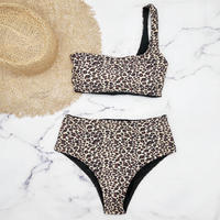 即納 One shoulder tie up high waist bikini Leopard