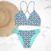 即納 A-string reversible long under bikini Turquoise damask