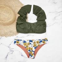 即納 V-line shoulder frill desing bikini Sun flower