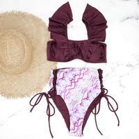 即納 V-line frill high waist reversible bikini Pink python