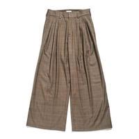 High waist baggy trouser - Wool check / Brown