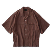 Double pockets open S/S shirt - Stretch linen / Brown