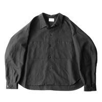 Big shirt jacket - Cotton linen twill / Black