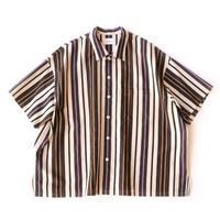 Short sleeve big shirt 壱 - Multi Stripe / Brown stripe