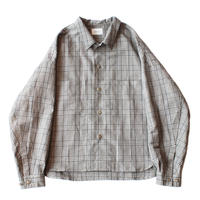 Big shirt jacket   - Cotton linen check / Grey
