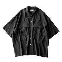 Short sleeve safari shirt - Stretch Linen / Black