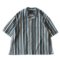 Double pockets open S/S shirt - Polyester stripe