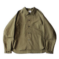 Big shirt jacket - Cotton linen twill / Olive