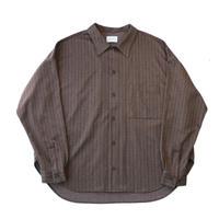 Regular fit big shirt - Herringbone jersey / Brown