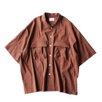 Short sleeve safari shirt - Stretch Linen / Brown