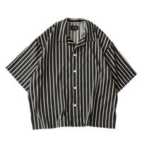 Square bottom S/S shirt - Sateen stripe / Black x camel