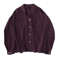 Double pockets big shirt - Cupra sateen / Wine