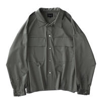 Double pockets big shirt - Cupra sateen / Olive