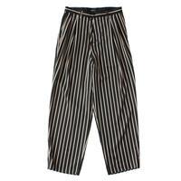 2 tucks wide trouser - Sateen stripe / Black x camel