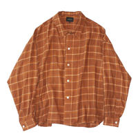 Big shirt 弐 - Tencel multi check / Orange