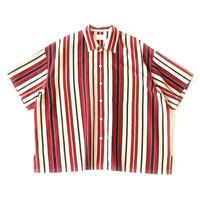 Short sleeve big shirt 壱 - Multi Stripe / Red stripe
