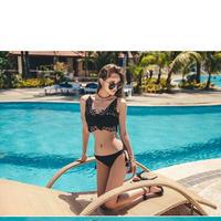 ILUNA №20 Lace Camisole bikini Black