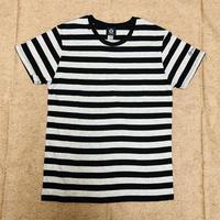 SUPLEX 綿ボーダーTシャツ(ブラック&ヘザーグレー)