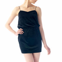 SPAGHETTI STRAP VELOUR MINI DRESS - BLACK