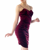 SPAGHETTI STRAP VELOUR LONG DRESS - WINE RED
