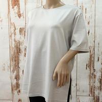 シルクストレッチクルーネックロング丈Tシャツ〚TE0850〛
