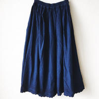 indigo-dyed gathered skirt / 03-6307003